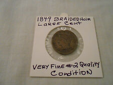 COIN:USA: 1849 Braided Hair Liberty 1 Cent Very Fine #2 Quality Large Cent Coin
