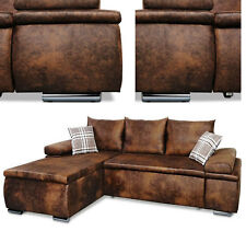 Design Couchgarnitur Vintage Schlaffunktion Sofa Couch Wohnlandschaft Li o. Re .