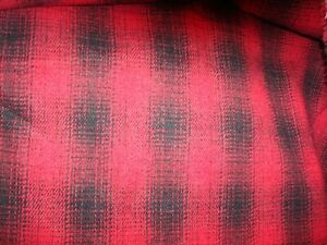 "Vtg 2.36 Yds WOOL Flannel Fabric Tartan Glen Plaid 11 oz Red Black 86"" BTP"