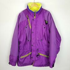 Vintage Men's Mountain Goat Ski Jacket Coat Size L Neon Purple Yellow Snowboard