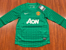 2012-13 Nike Manchester United Youth Home LS Soccer Jersey Medium M Green Boys