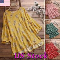 Plus Size Women Boho Floral Loose Top Blouse 3/4 Sleeve Cotton Linen Tunic Shirt