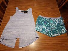 NWT $49 Ellen Tracy Split-Back Top Blue & Green PAISLEY Shorts Pajama Set LARGE