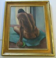 VINTAGE NUDE PAINTING MID CENTURY MODERN EXPRESSIONISM MYSTERY ARTIST LARGE