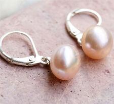 Handarbeit Ohrhänger Brisuren Silber Perle 9,5 mm Aprikot Rosa Ohrringe Schlicht