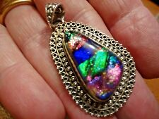Striking and Stylish Hand Made Sterling Silver and Dichroic GlassPendant 8.9g