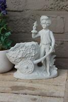 Small German bisque porcelain statue vase planter romantic young figurine