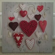 NEXT MULTI HEART DESIGN LARGE CANVAS WALL ART PICTURE 80 X 80CM - EX DISPLAY