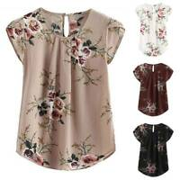 Womens Floral Short Sleeve T-Shirt Tunic Tops Basic Tee Casual Blouse Plus Size
