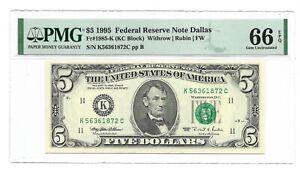 1995 $5 DALLAS FRN, PMG GEM UNCIRCULATED 66 EPQ BANKNOTE