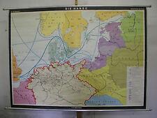 Schulwandkarte Beautiful Old Wall Map School Hanse Rostock 187x135 1971