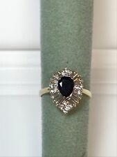 Women 14 Kt Yellow Gold Anniversary Ring With Diamond & Sapphire