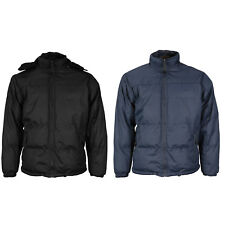 Men's Lined Insulated Puffer Heavy Weight Zipper Jacket with Removable Hood