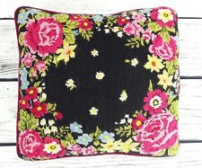 Completed Needlepoint Roses & Other Flowers Pillow Reds Pinks Black Background