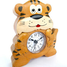 CHILD'S TIGER ALARM CLOCK. HAND CRAFTED IN WOOD. QUARTZ MOVEMENT  BY NAMESAKES