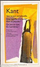 Vers la paix perpétuelle - Kant.Poirier/Proust. GF 1991. TBE .20/5