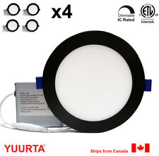 """YUURTA (4-pack) 6"""" 12W Dimmable Recessed Ceiling LED Downlight Pot Light Black"""