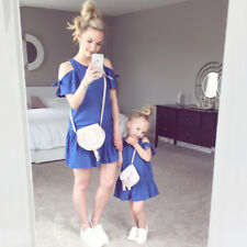 Mother and Daughter Casual Cold Shoulder Mini Dress Mommy&Me Matching Outfit HOT