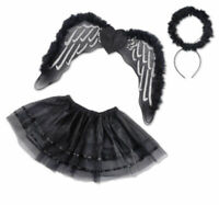 Mädchen Damen schwarzer Engel Flügel Kostüm 3tlg. Tutu Set Halloween Karneval