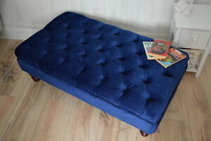 Chesterfield Deep Button Footstool in Plush Royal Blue Velvet Fabric