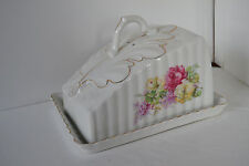Vintage Porcelain Covered Butter Dish Rose Flower Gold Trim