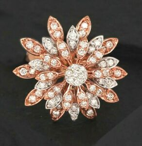 1.40ct Natural Round Diamond 14K Solid Rose Gold Cocktail Engagement Ring