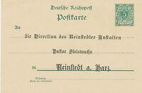 DT.REICH 1899 Postkarte 5 Pf grün mit Wasserzeichen 2 m seltene privater Zudruck