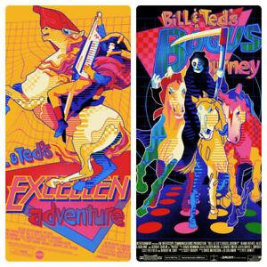 BILL & TEDS EXCELLENT ADVENTURE + BOGUS JOURNEY Mondo WBYK Print Poster Set