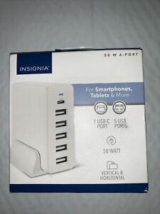 Insignia- 58 W 4' Wall Charger with 6 USB/USB-C Ports - White