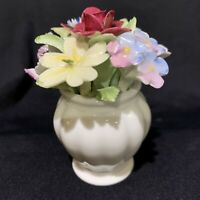 """ROYAL DOULTON Flowers in Vase, Miniature Fine Bone China Hand Painted 3"""" high"""