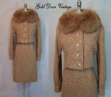 Stunning Vtg 60s COUTURE BILL BLASS Tweed Huge FOX FUR Trim Suit