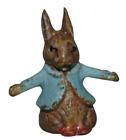 Miniature Bronze Cold Painted Beatrix Potter Rabbit Blue Jacket