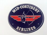 Vintage Airline Sticker / Luggage Label - Mid- Continent Airlines w/ Indian