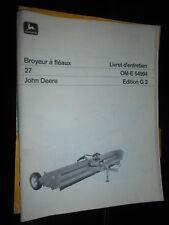 John Deere broyeur à fléaux 27 : livret d'entretien G2