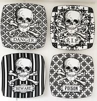 222 FIFTH Plates Halloween Skulls Fine Porcelain China Set 4 Salad Snack Dessert
