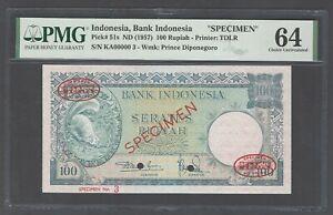 Indonesia 100 Rupiah ND(1957) P51s Specimen TDLR N3 Uncirculated Grade 64