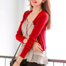 Women Autumn Knitted Cardigan Long Sleeve Round Neck Casual Short Blouse Tops