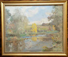 C Harry Allis 1910 Untitled Landscape With Figure Fishing Antique Oil Painting
