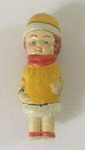 Vintage Miniature Girl Figurine Fairy Garden Terrarium Crafting Yellow Coat/Hat