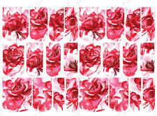 24 WATER SLIDE NAIL ART DECALS * VALENTINE ABSTRACT RED ROSES* FULL NAIL COVERS