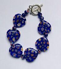 Stunning Millefiori Cobalt Blue Heart Glass Bracelet Version 2