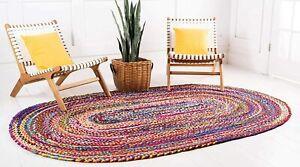 Rug 100% Natural Cotton oval Braided Rug Floor Mat Reversible Rustic Modern Rug