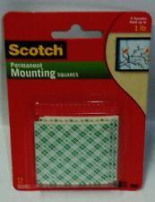Scotch 3M Permanent Mounting Squares Get 12 Squares 4 Squares Holds 1lb NIP