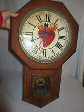 "Antique Sessions ""Clinton"" Long Drop Regulator Clock ""Sacred Heart of Jesus"""