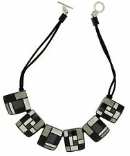 ZSISKA Homage Monochrome Resin Necklace with Rhodium Clasp