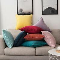 Nordic Pom-poms Cushion Cover Square Waist Throw Pillow Case Sofa Car Home Decor