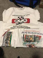 3 VINTAGE INDIANAPOLIS 500 MINI MARATHON MEN'S WHITE SHIRT SIZE L MADE USA