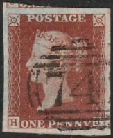 1841 SG10 1d DEEP RED BROWN PLATE 42 SUPERB USED 4 VERY LARGE MARGINS (HJ)