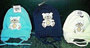 BABY KNITTED HAT EAR FLAPS & UNDER CHIN TIES APPLIQUE TEDDY BEAR  FLEECE LINED