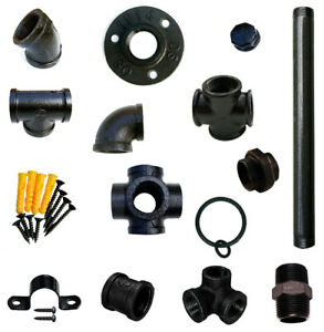 Industrial Pipe Shelf Bracket Components In Various Thickness (Black)